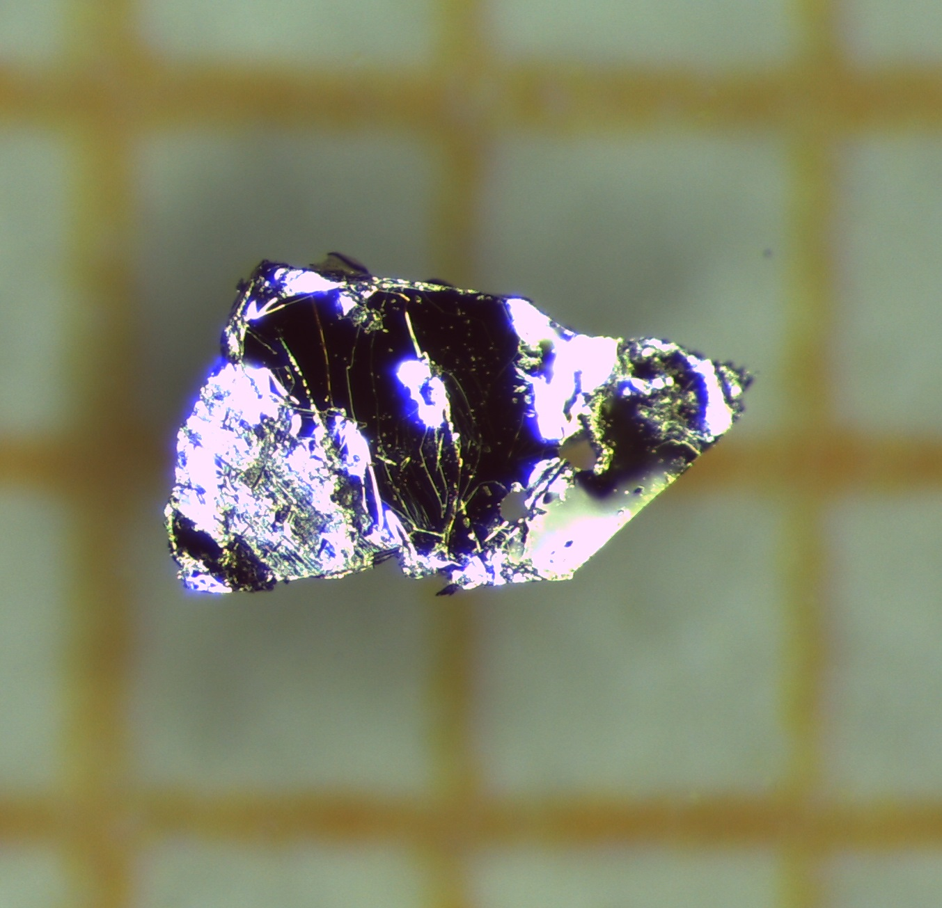 Single crystal of the material manganese bismuth telluride, almost one millimeter in length. It is the first antiferromagnetic topological insulator the first antiferromagnetic topological insulator. Photo: A. Isaeva, TU Dresden/IFW Dresden