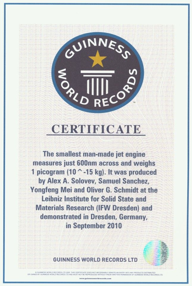 "Guinness World Record® for ""Smallest Man-Made Jet Engine"""